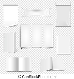 Big Set Paper Book And Banner Isolated Transparent Background