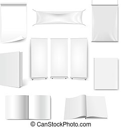 Big Set Paper Book And Banner Isolated White Background