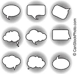 Big set picture blank template comic text speech chat bubble halftone dot background style pop art