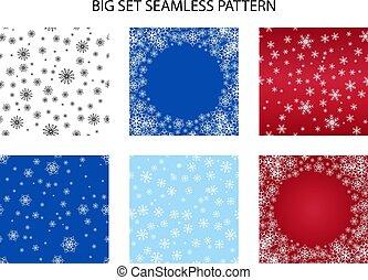 Big set Seamless snow pattern. Simple vector snowflakes