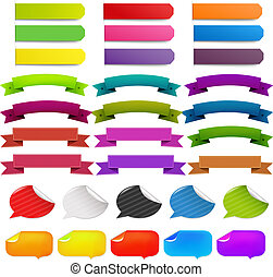 Big Set Stickers And Ribbons, Isolated On White Background,...