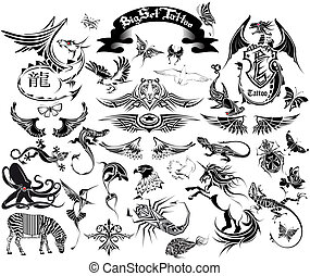 big set tattoo - The vector image of a set of sketches for a...
