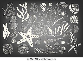 Big set underwater life - Hand drawn set of underwater...