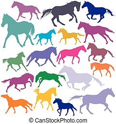 Big Set vector colorful trotting and galloping horses silhouettes