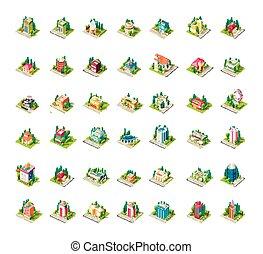 Big set vector isometrics building with arranged territory