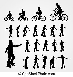 Big set vector silhouette of roller