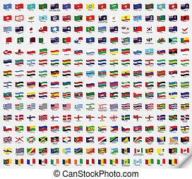 Big set wavy flags. Vector illustration