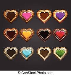Big set with different wooden hearts