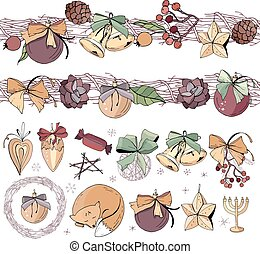 Big set with vintage Christmas decoration.  Endless pattern brushes with cones, glass balls and gold bells. Festive elements and symbols, retro style, for new year season design. Contour, hand drawn.