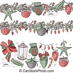 Big set with vintage Christmas decoration.  Endless pattern brushes with cones, glass balls and candy. Festive elements and symbols, retro style, for new year season design. Contour, hand drawn.