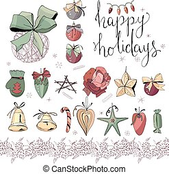 Big set with vintage Christmas decoration isolated on white. Festive elements and symbols, retro style, for new year season design. Green, gold and dark red color, contour, hand drawn.