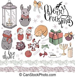 Big set with vintage Christmas decoration isolated on white. Festive elements and symbols, retro style, for new year season design. Green, brown, gold and dark red color, contour, hand drawn.