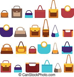 Big set women bags in flat style