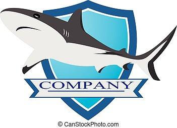 big shark on blue shield logo illustration
