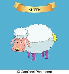 Big sheep on a blue