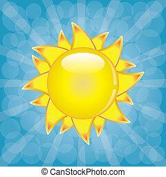 Big shining summer sun with sunbeams on the sky.