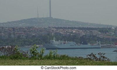 Big Ship at Bosphorus Harbor Cityscape