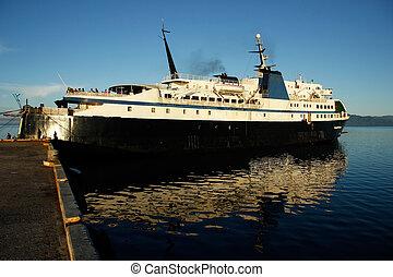 Big ship at Savusavu harbor, Vanua Levu island, Fiji