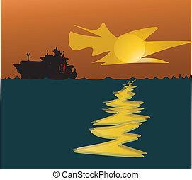 big ship at sunset