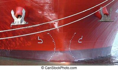 big ship, closeup - front view of a big ship, closeup