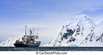 Big ship in Antarctica