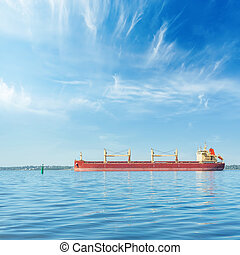 big ship on river and blue sky with clouds over it