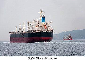 big ship sails on the Bosphorus