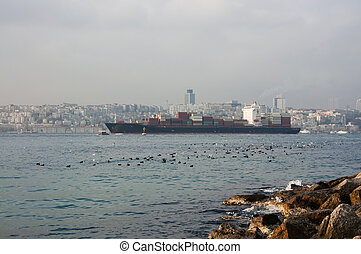 Bosphorus - big ship sails on the Bosphorus