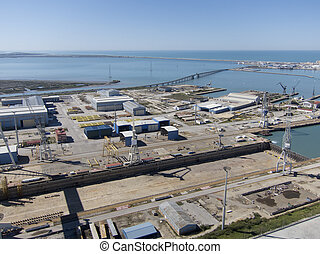 aerial view of Cadiz and Puerto Real shipyard