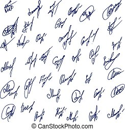 Big Signatures set - group of fictitious contract signatures. Business autograph illustration.