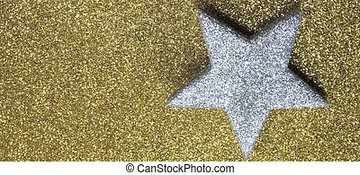 big silver star in brilliant yellow background