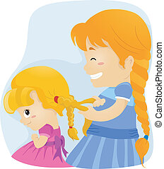 Big Sister Braids - Illustration of a Big Sister Tying Her...