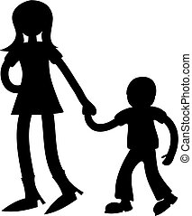 big sister - young girl holding hand of little boy isolated...