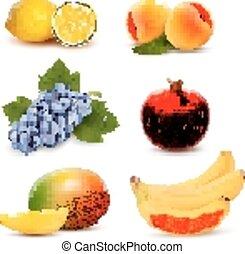 big, skupina, o, neobvyklý, fruit., vector.