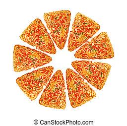 big sliced pizza