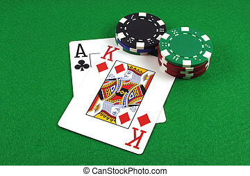 Big Slick - Ace King with poker chips on a green poker baize