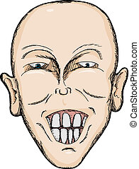 Big Smile - Caricature of bald Caucasian man with big teeth