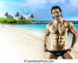 Big smile male fitness model