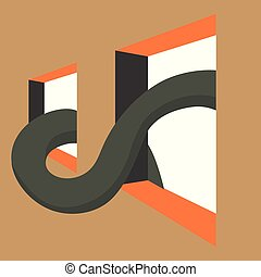 Big snake, illustration, vector on white background.