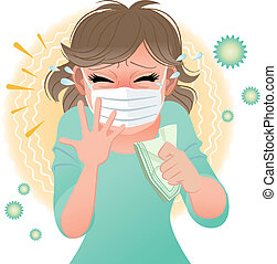 Woman suffering from pollen allergies sneezes. Gradients and blending tool is used.