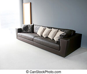 Big leather sofa in grey living room