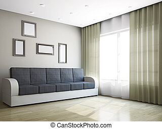 Big sofa in the livingroom near the window