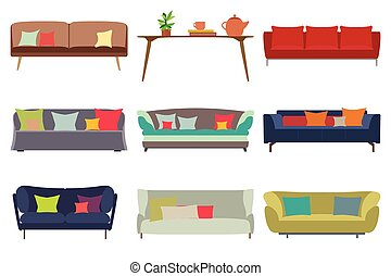 Big Sofas Set. Furniture for Your Interior Design. Flat Vector Illustration. Top, Front and Side View.