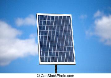 Big solar panel over blue sky