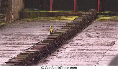 Big solid steel bars on a shipyard