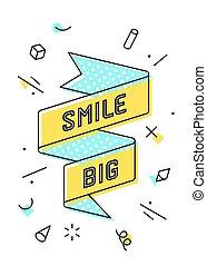 big., sourire, bannière, ruban, vendange
