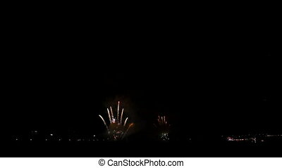 Big Spectacular fireworks in the night summer sky