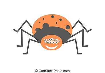Big spider with many eyes and friendly smile