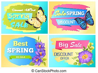 Big Spring Sale Advert Labels Flowers Butterfly