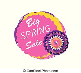 Big Spring Sale Advertisement Sticker Watercolor